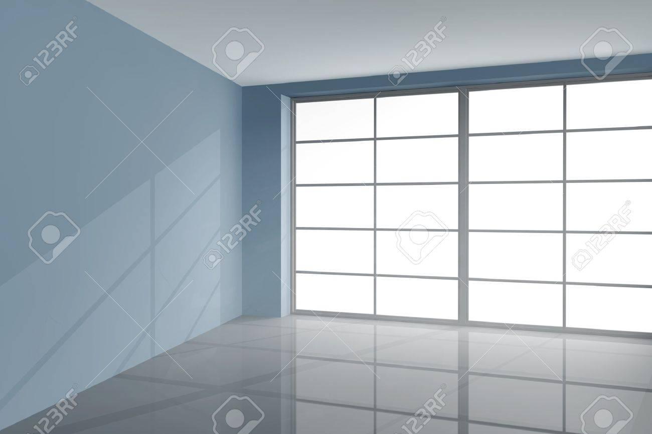 Unglaublich Fensterfront Referenz Von Große In Einem Grauen Modernen Zimmer Standard-bild
