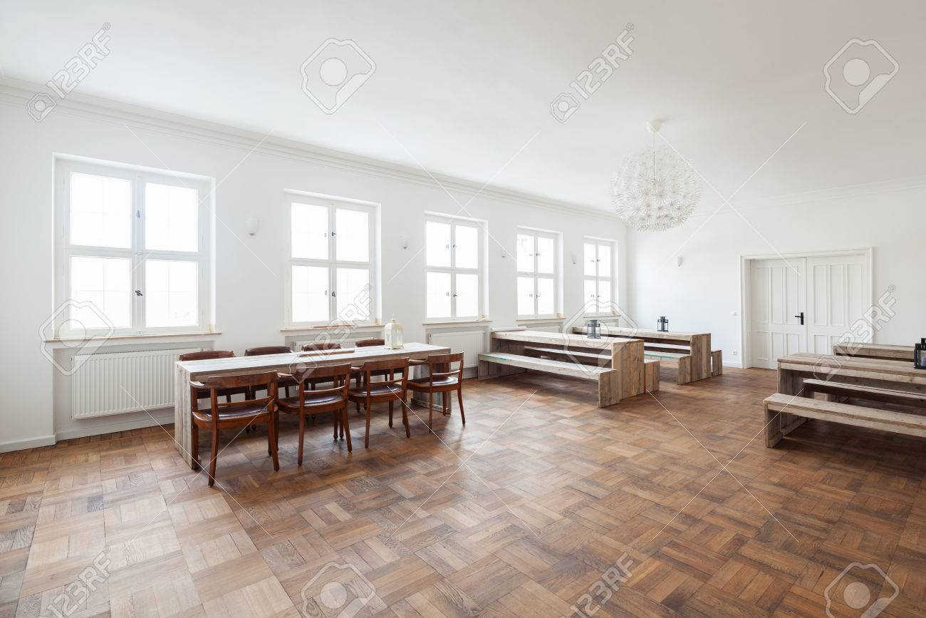 Awe Inspiring Rustic Wooden Benches And Tables In A Canteen Interior With A Ocoug Best Dining Table And Chair Ideas Images Ocougorg
