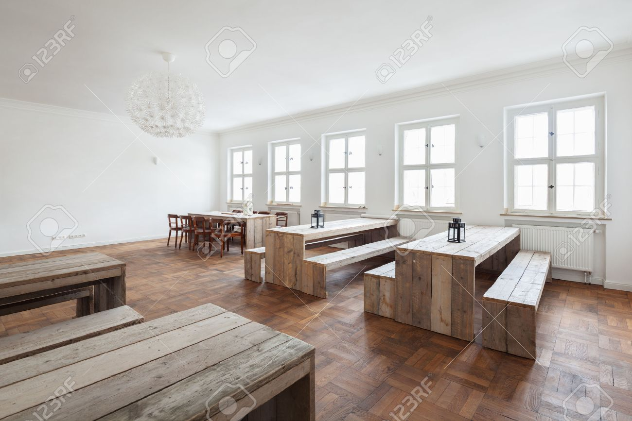 Fine Empty Simple Rustic Wooden Benches And Tables In A Bright White Evergreenethics Interior Chair Design Evergreenethicsorg