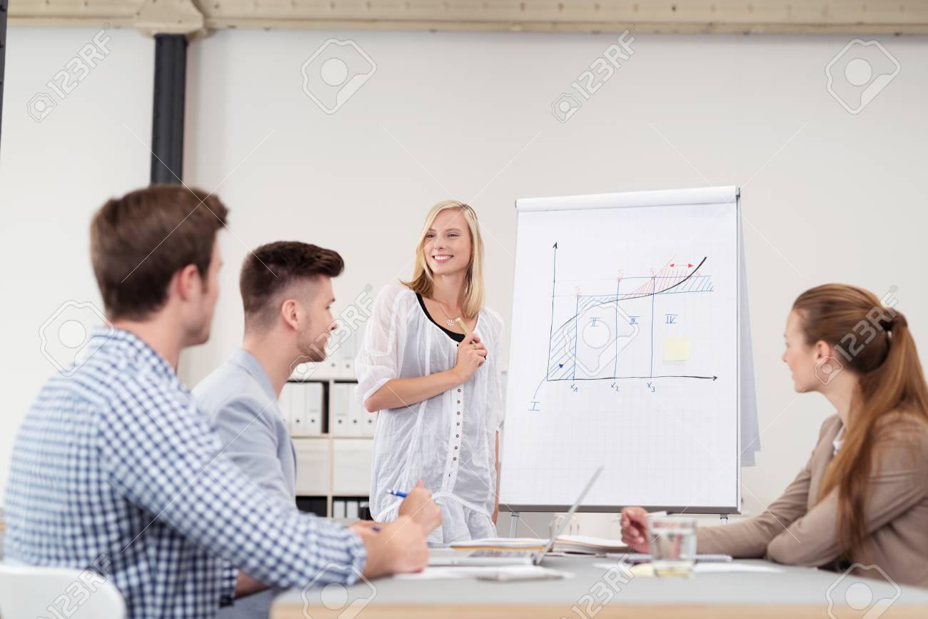 Feliz Mujer Líder Presentación De Una Carta De Negocios Progreso Al ...