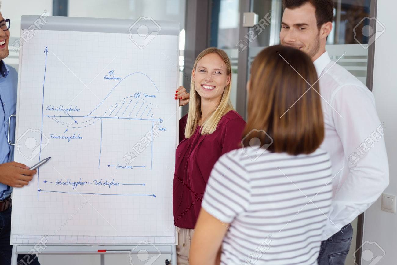 Dedicated young business team having a meeting standing grouped around a flip chart discussing handwritten notes and diagram - 63969578