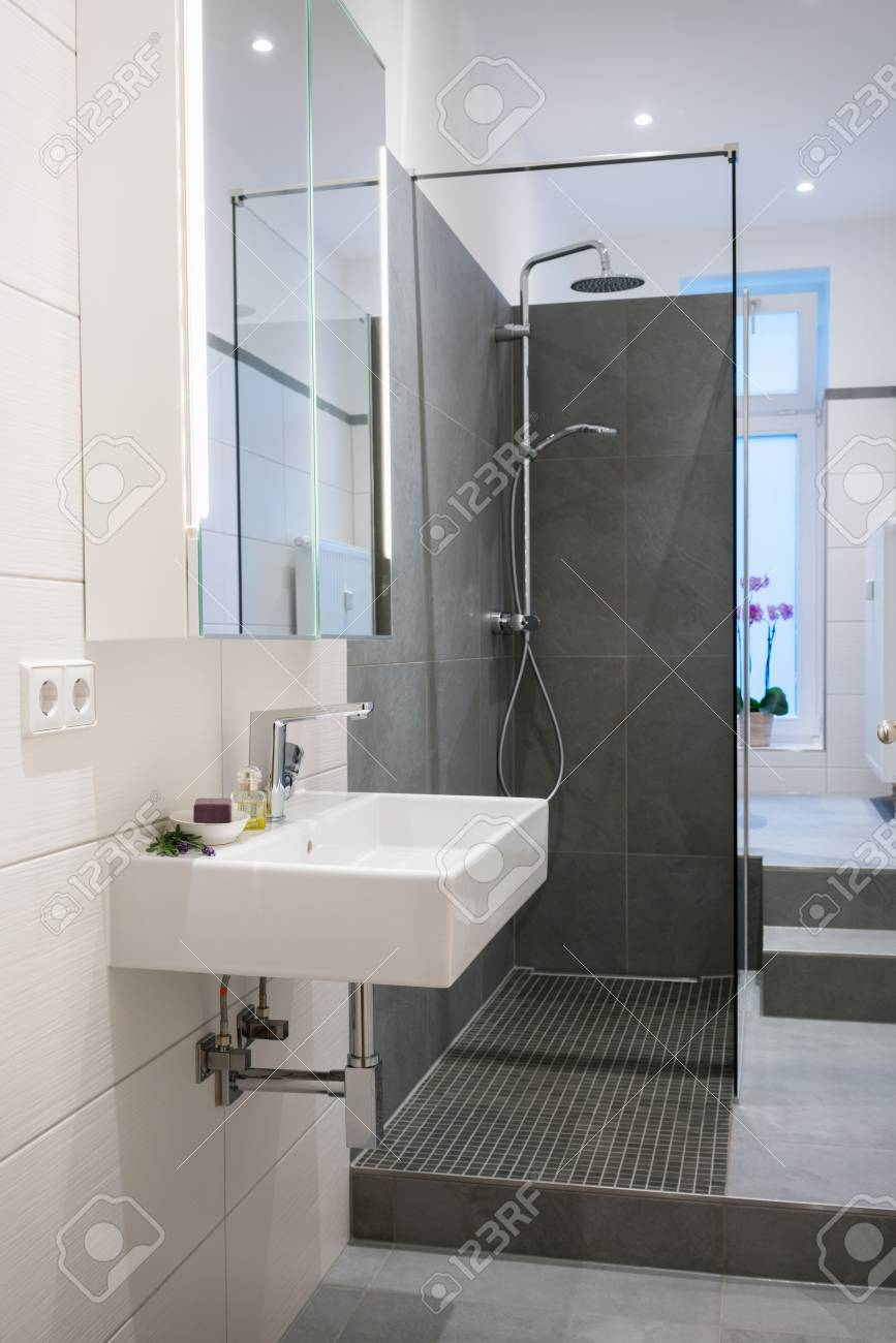 Modern Upmarket Bathroom Interior With A Wall Mounted Rectangular ...