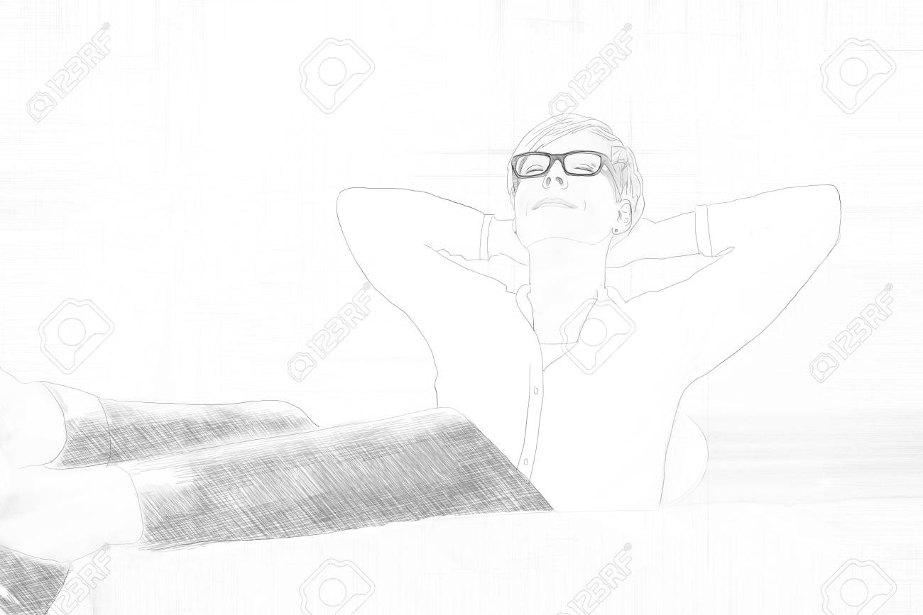 Banque dimages pencil sketch of a young businesswoman relaxing with her feet on the desk and hand behind her head as she leans back in her chair with