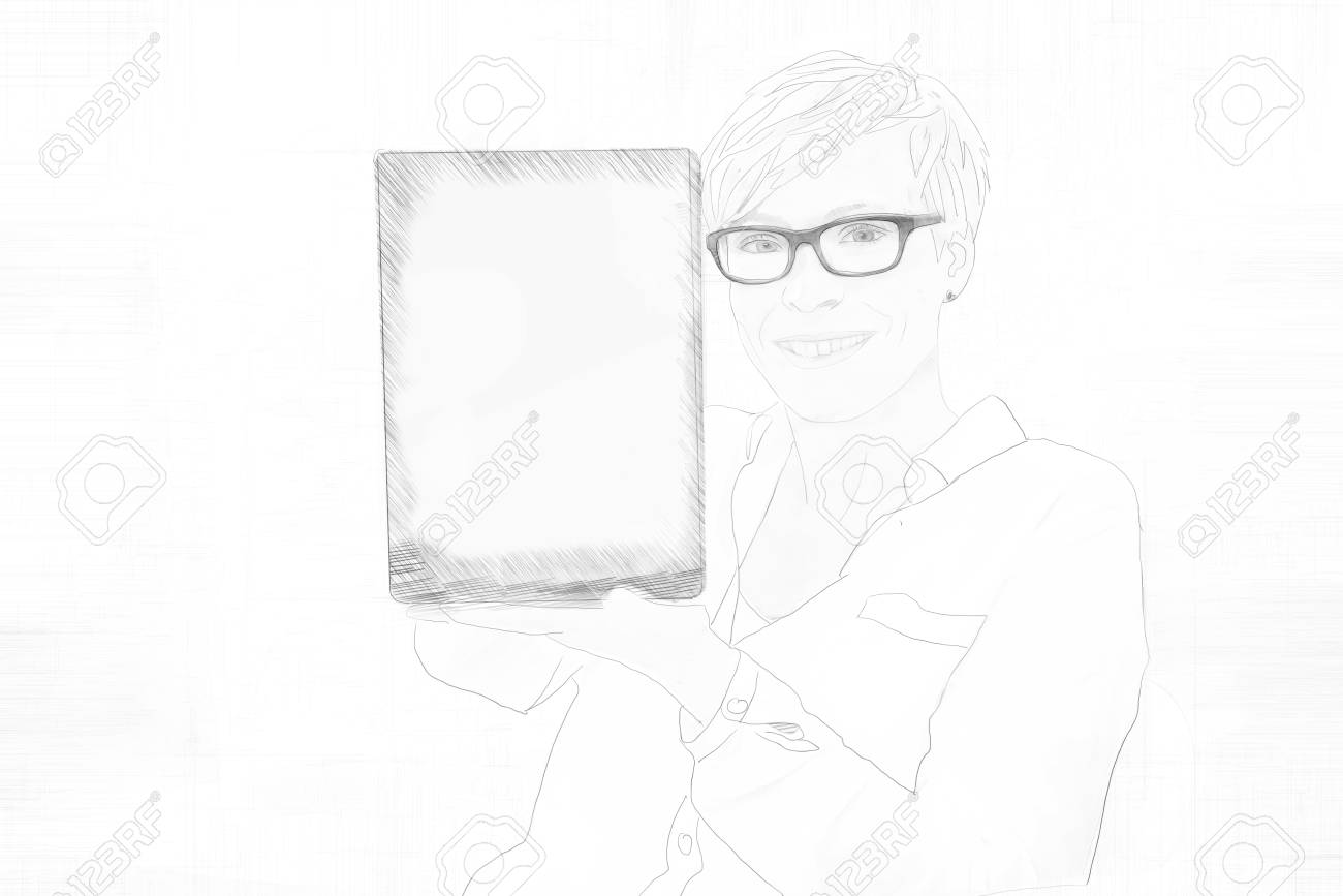 Banque dimages pencil sketch of a smiling young woman wearing glasses holding a blank tablet computer with the screen displayed to the viewer