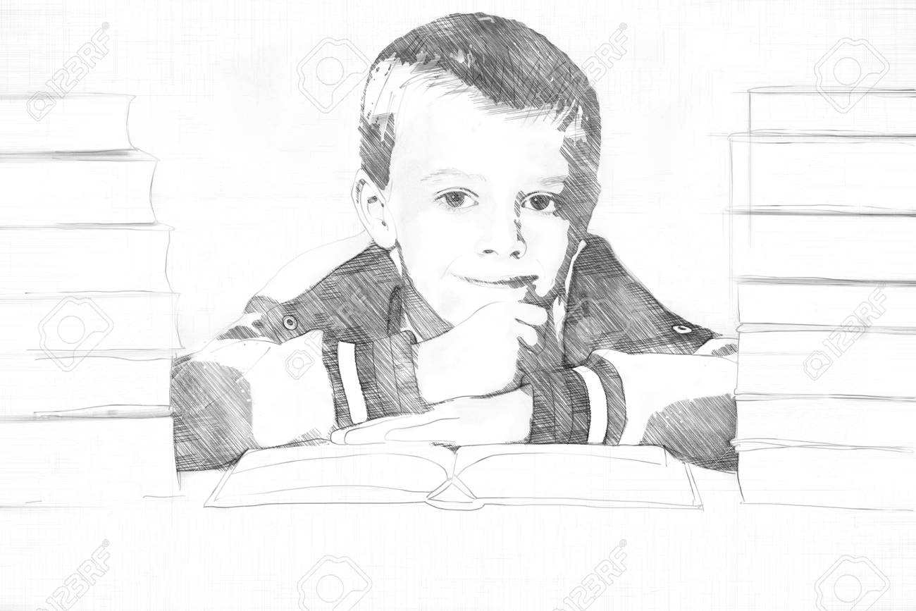 Banque dimages pencil sketch of a little boy in school flanked by two piles of textbooks putting on a brave smile as he rests his chin on his hands