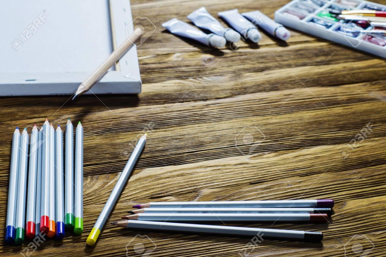 Arbeitsplatz Des Designers Kunstler Maler Zubehor Zur Zeichnung