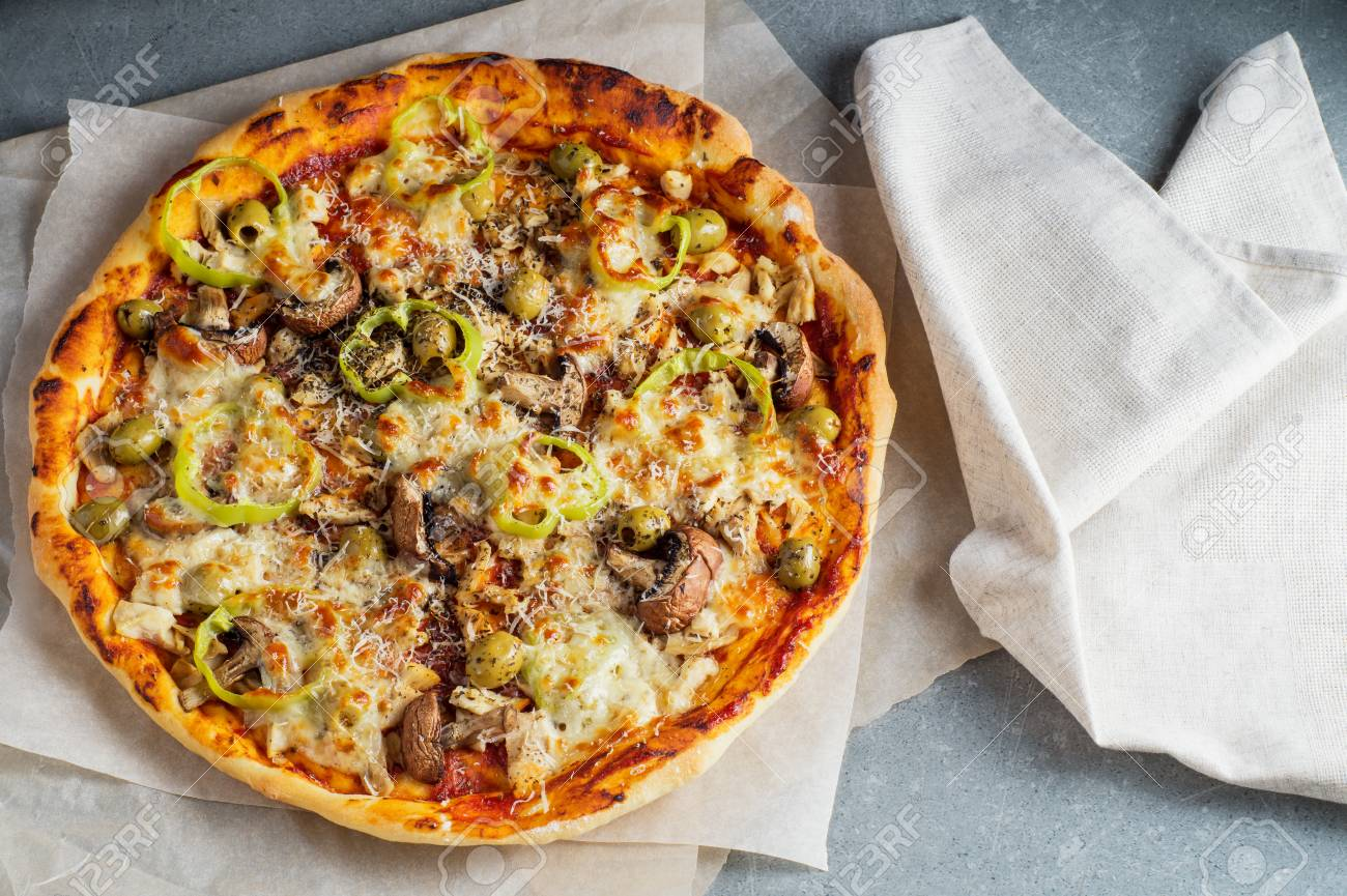 Delicious Homemade Pizza With Tomato Sauce Mushrooms Chicken