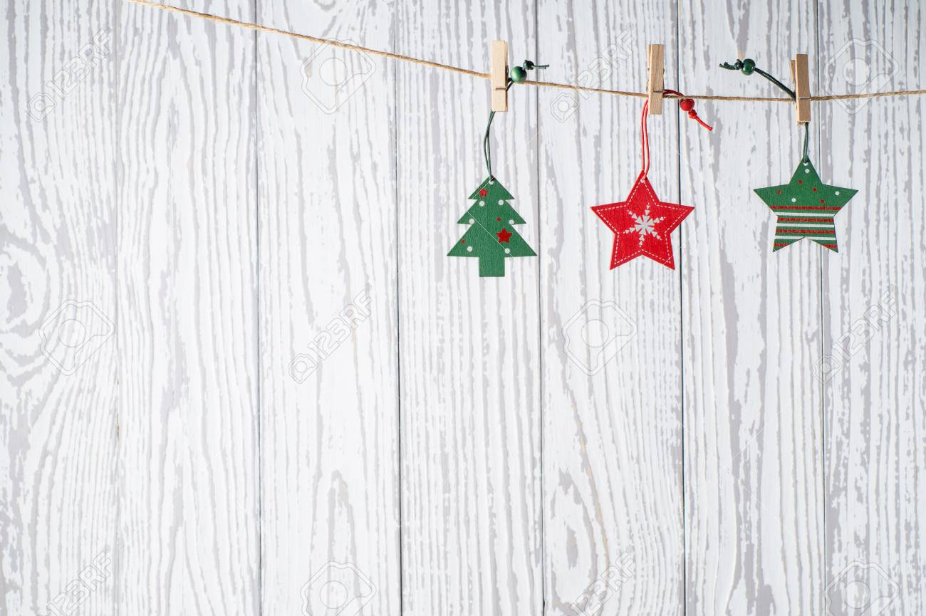 Christmas Card Background.Christmas Background With Holiday Decorations On Grunge Wooden