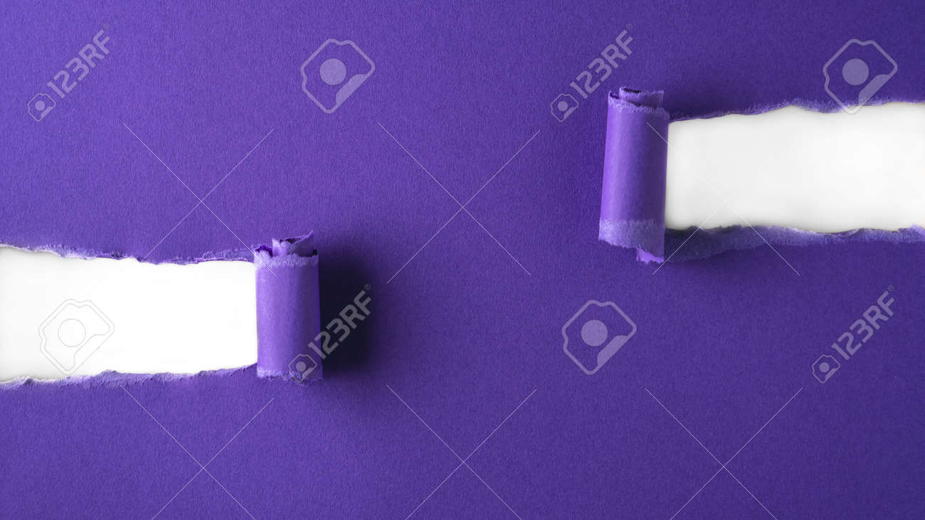 Violet paper is torn over white background for message. Template for your text. - 166146492