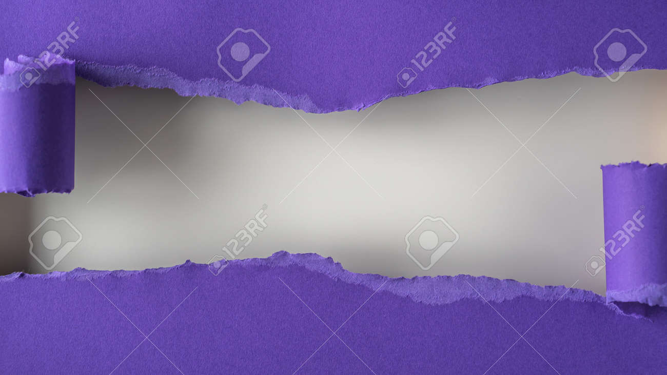 Violet paper is torn over white background for message. Template for your text. - 166145525