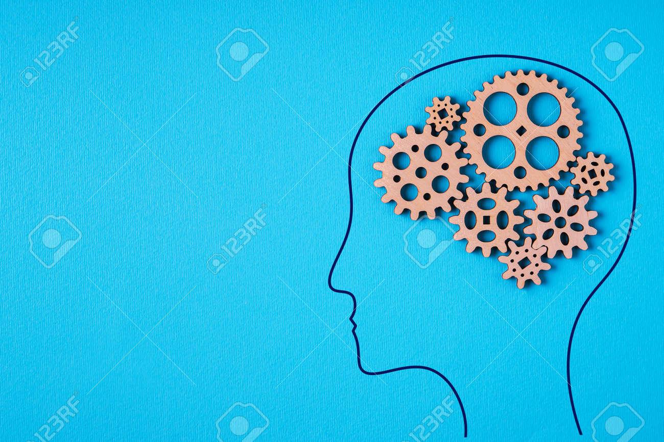 Gear wheel, human brain concept. Man with a gear mechanism in the head. - 166111860