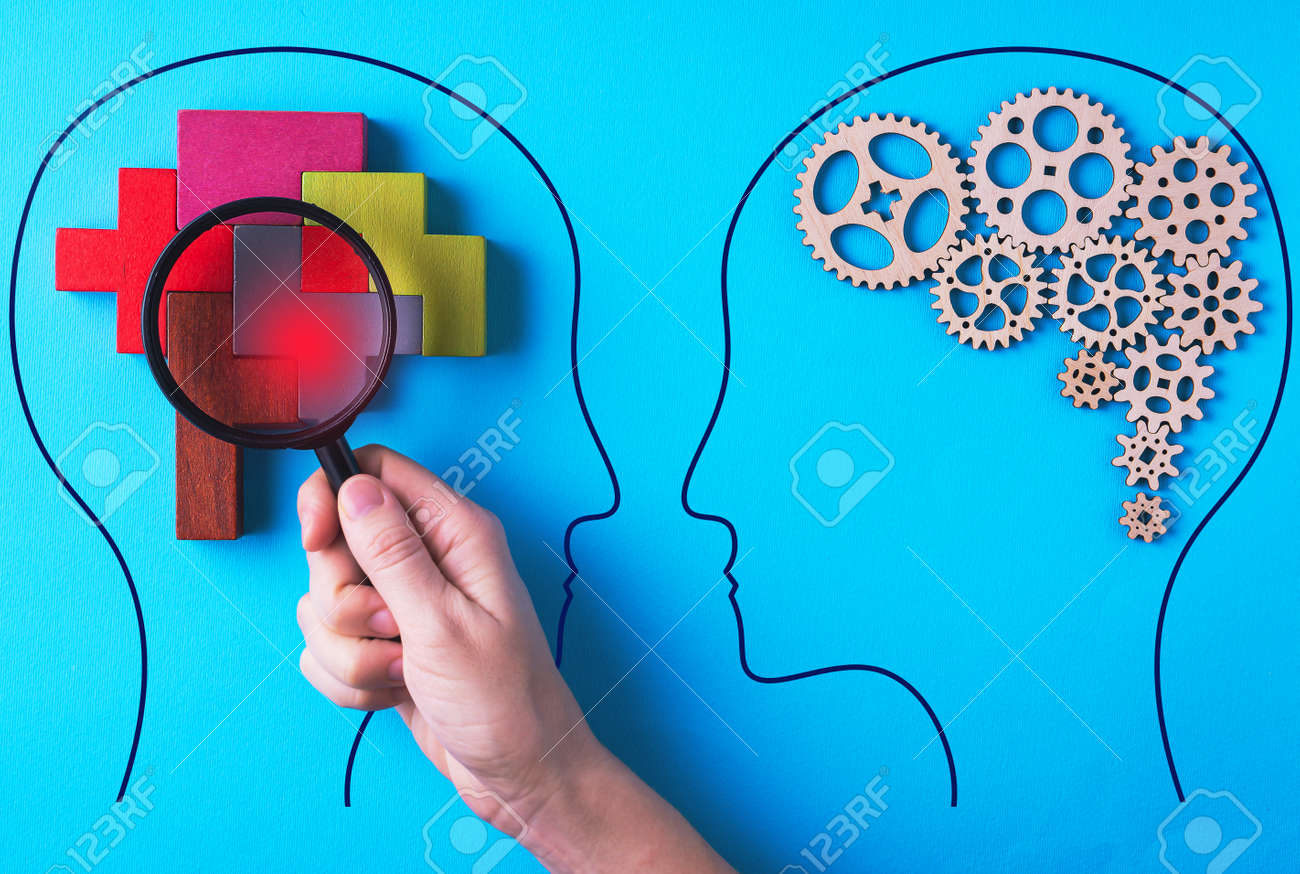 Human brain is made gear mechanism and colorful shapes on blue background. The brain is viewed through a magnifying glass. Brain disturbance concept, brain disorder. Different thinking. - 166600130
