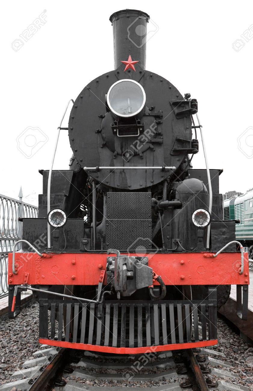 Old Black Locomotive Front Side Stock Photo