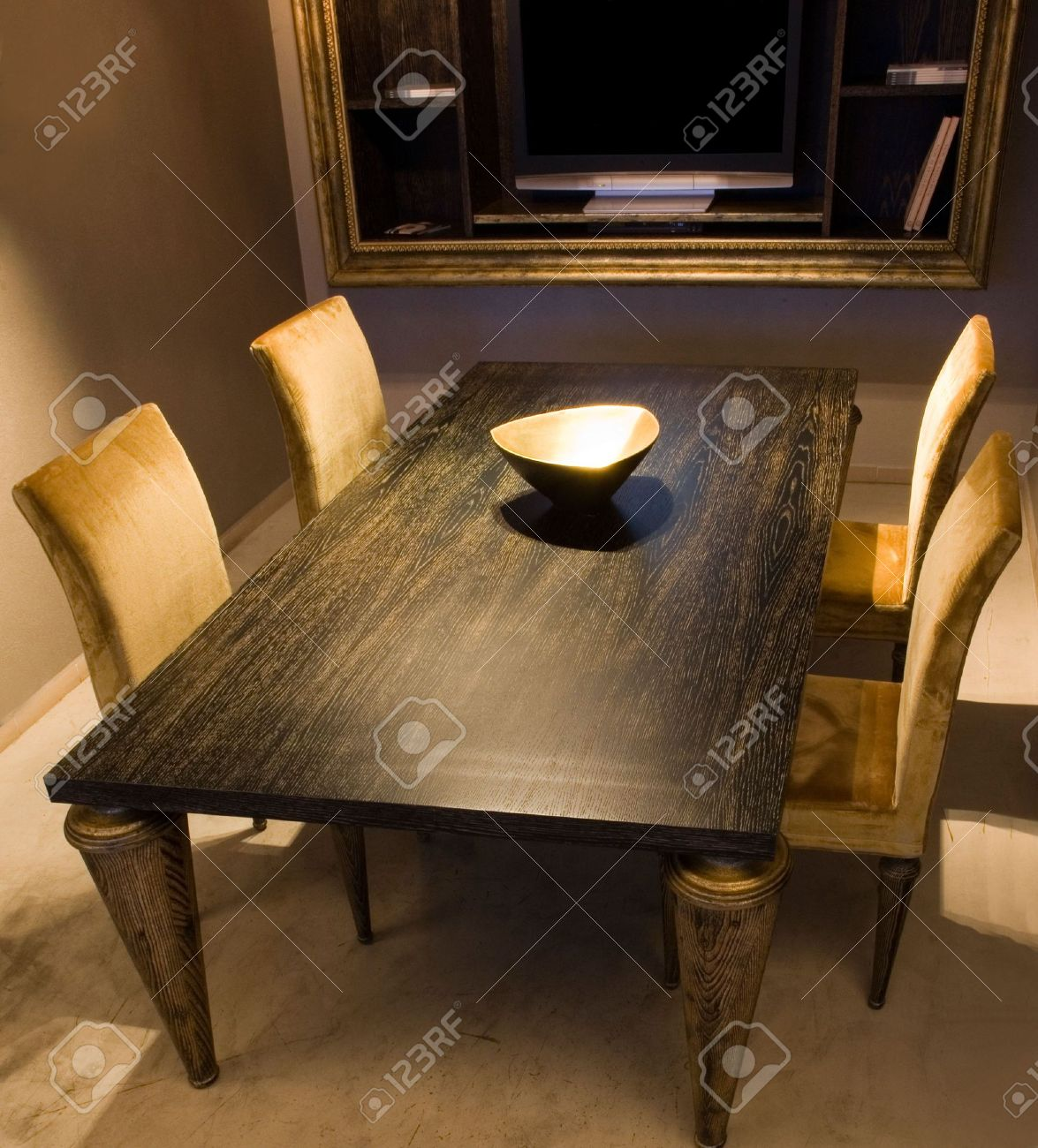 dining room with black wood table and yellow chairs stock photo rh 123rf com