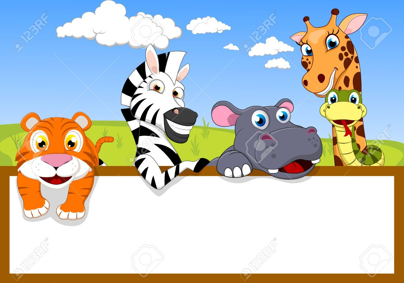 Zoo Animals Together Clipart Vector - Zoo Animal With Blank