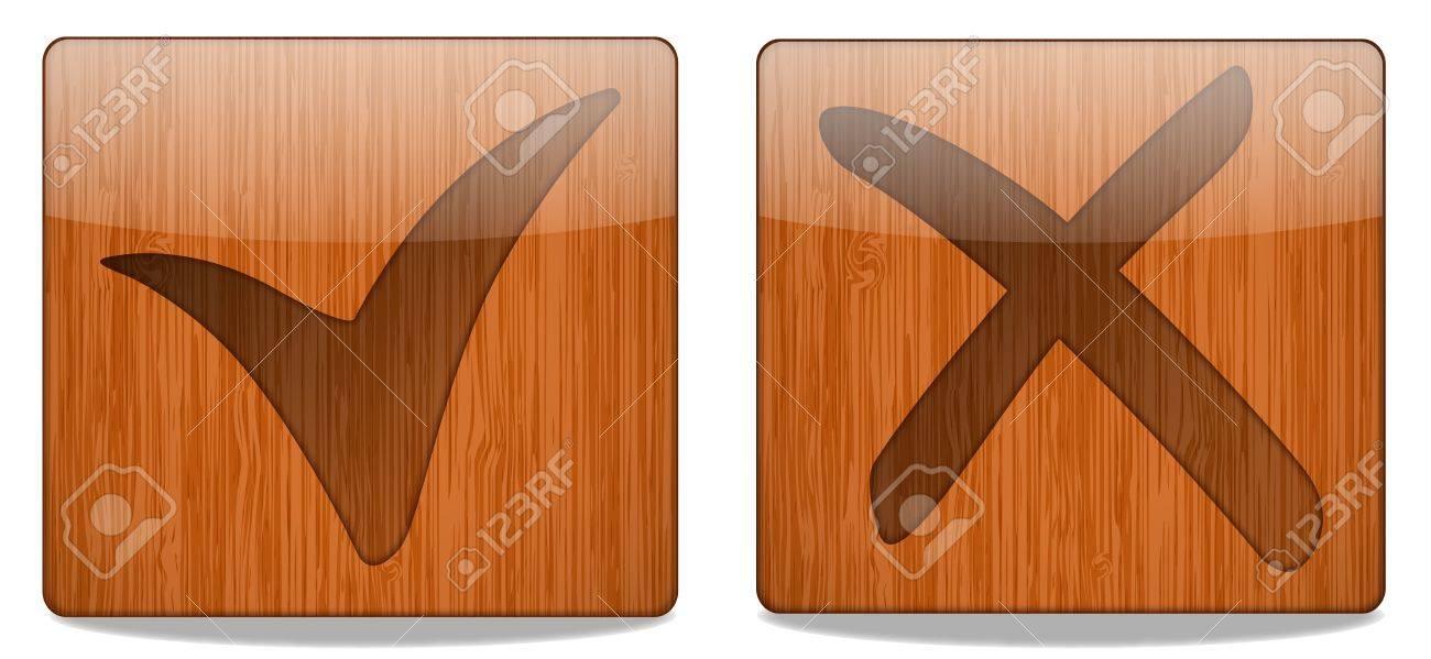 Wooden Square Button Icon Stock Vector - 18366947