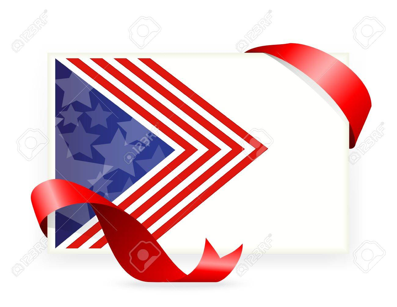 Illustration Of American Flag , Business Cards With Ribbon Royalty ...