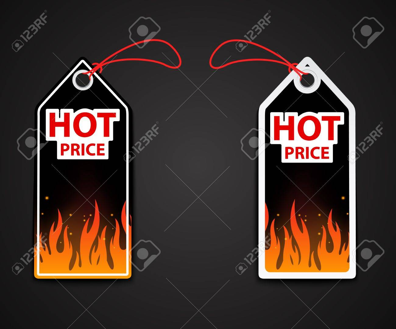 Illustration of hot price labels with fire flame Stock Vector - 20353683