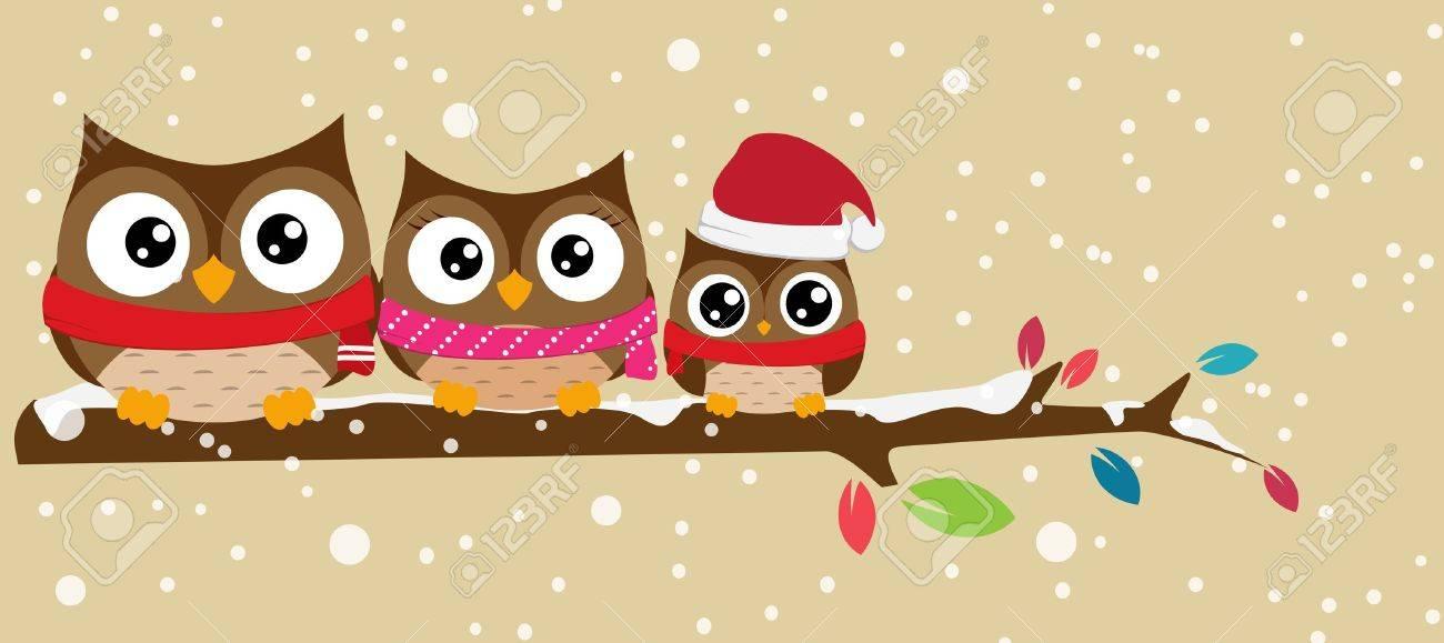 Vector Illustration  owl family on the branch christmas banner Stock Vector - 21813162