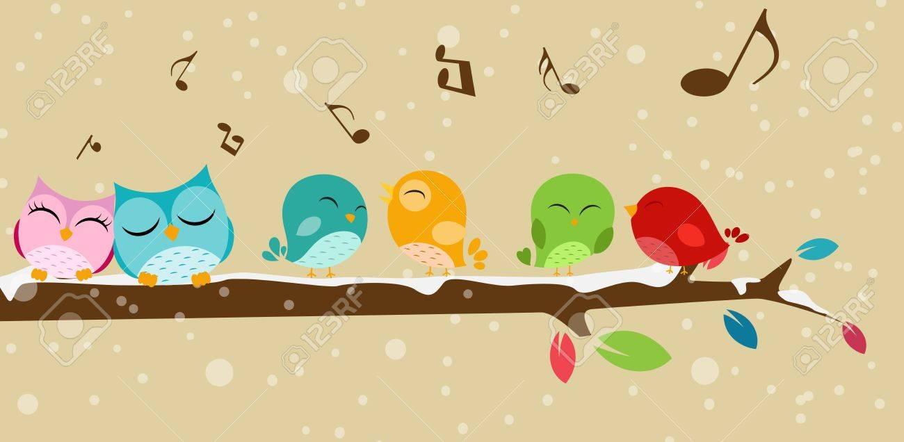 Vector Illustration of Birds singing on the branch Stock Vector - 22024305