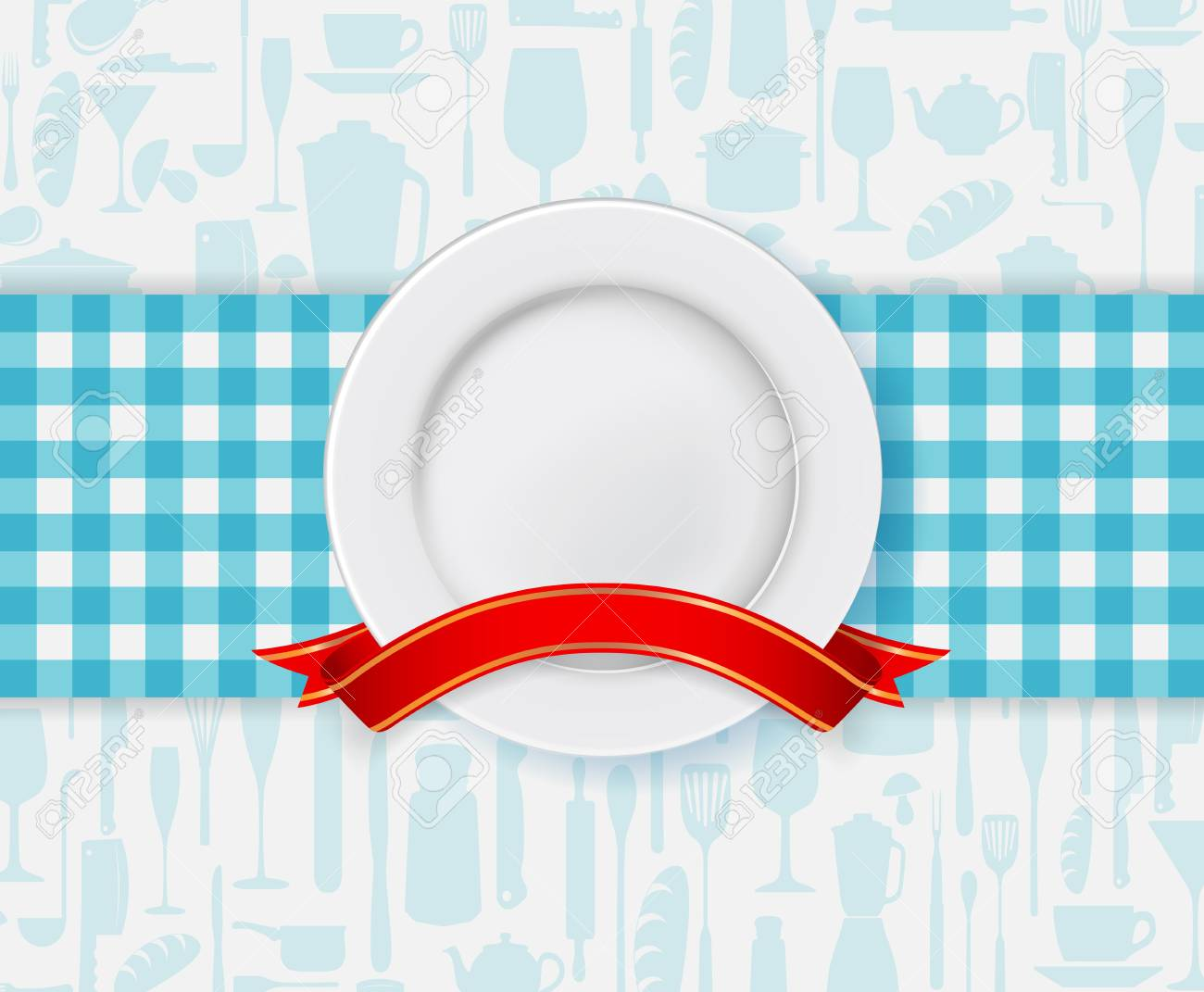 Illustration of Restaurant menu design with plate and ribbon Stock Vector - 24635441