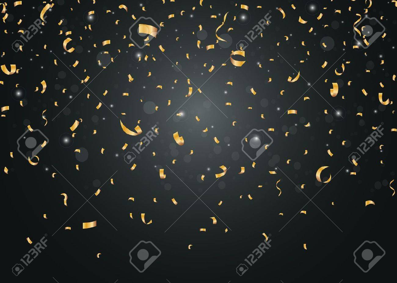 Golden confetti isolated on black background Stock Vector - 40696545