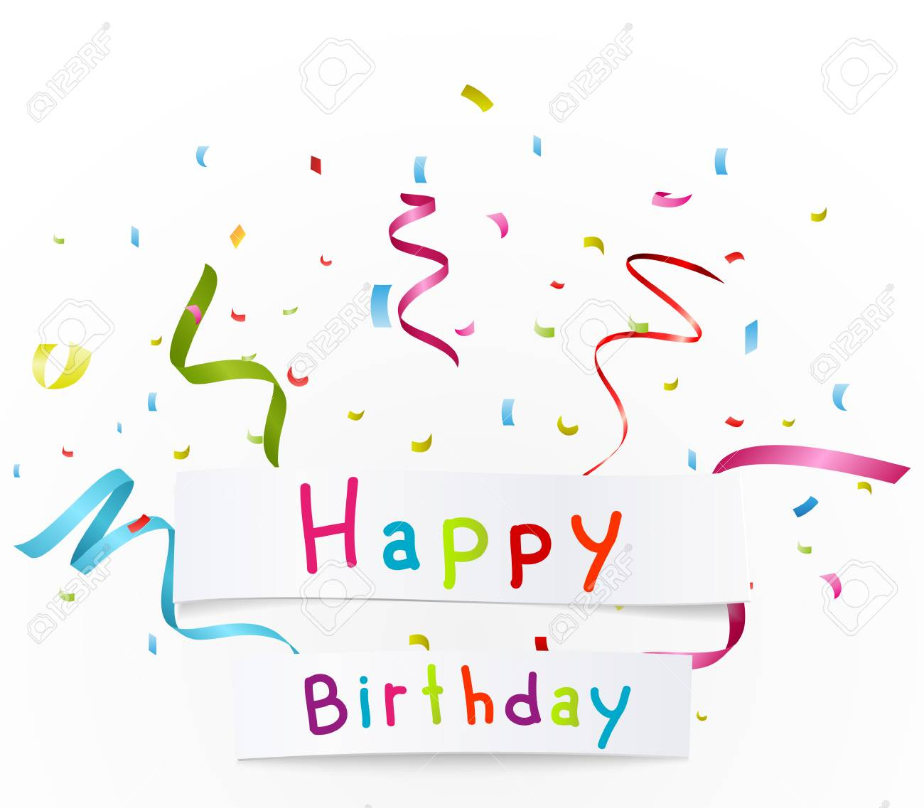 Happy Birthday Greetings With Paper Royalty Free Cliparts Vectors
