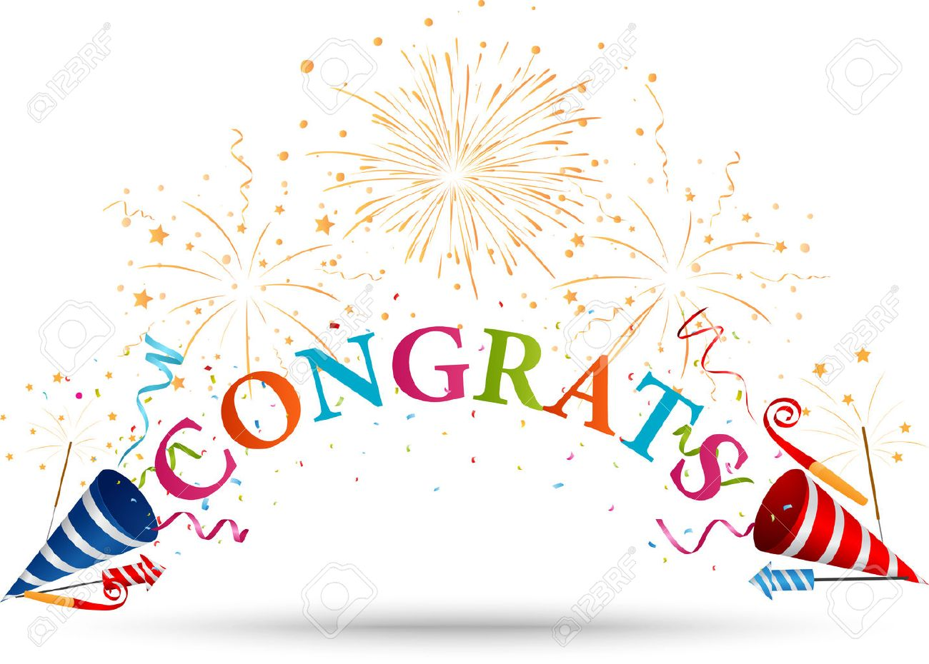 Congratulations Celebration With Fireworks Royalty Free Cliparts ...