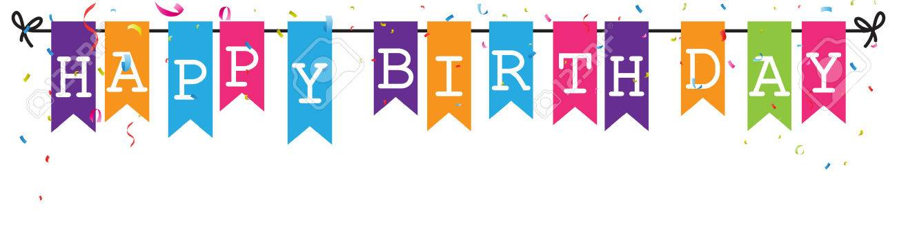 bunting flags banner with happy birthday letter royalty free