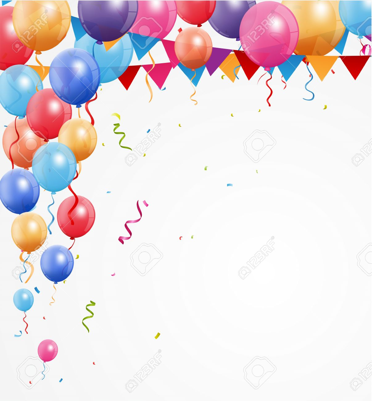 Happy Birthday Greetings With Balloon And Confetti Royalty Free