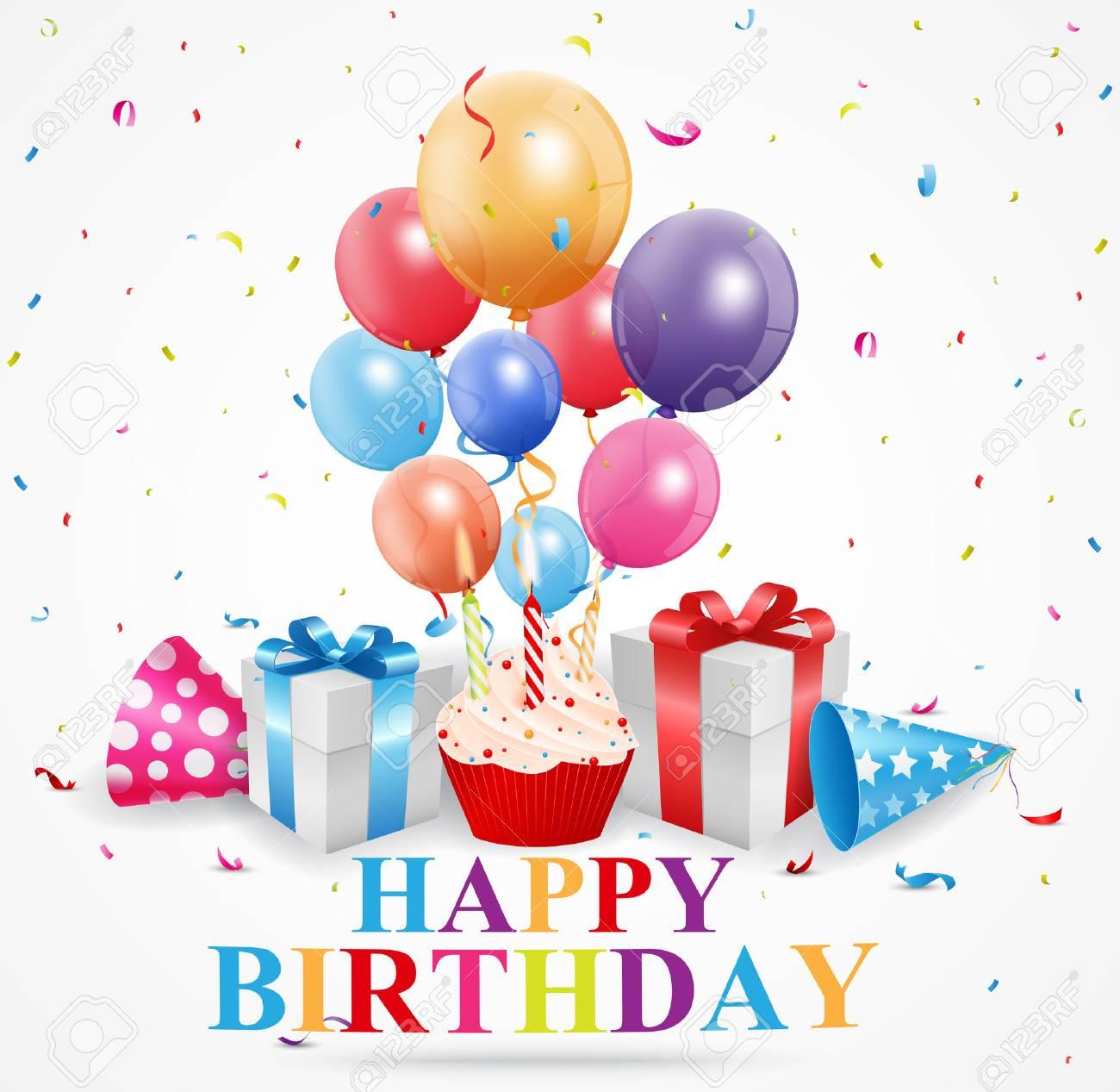Happy Birthday Greetings Card Stock Vector