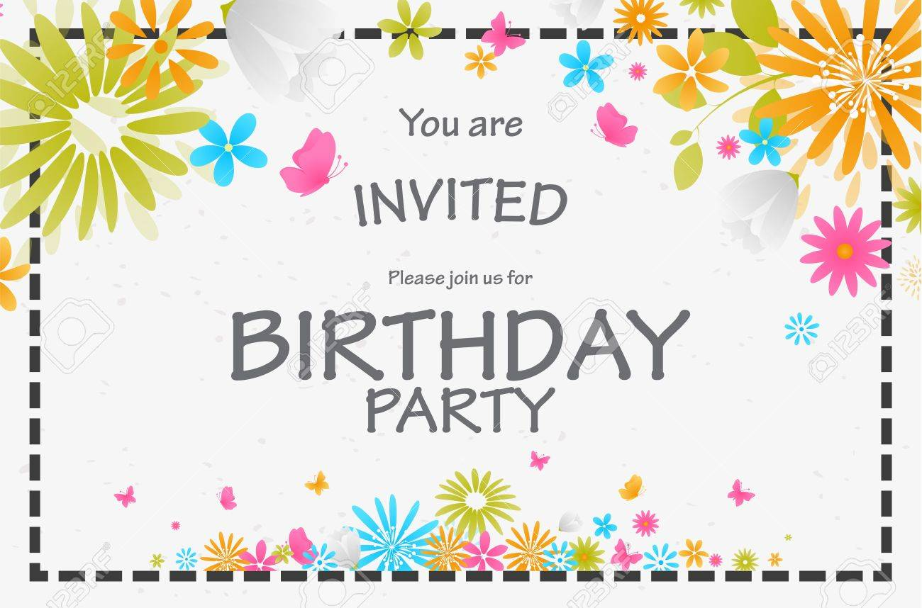 Birthday Invitation Card With Beautiful Flower Royalty Free Cliparts