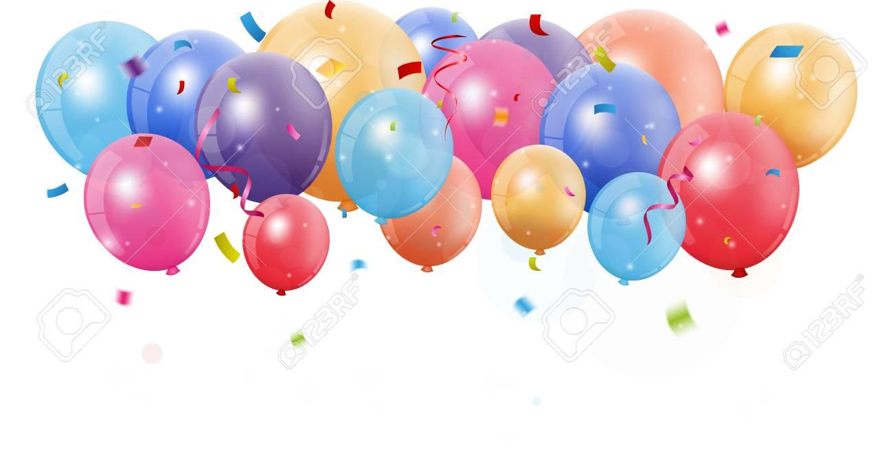 Anniversaire Ballon Coloré Avec Des Confettis