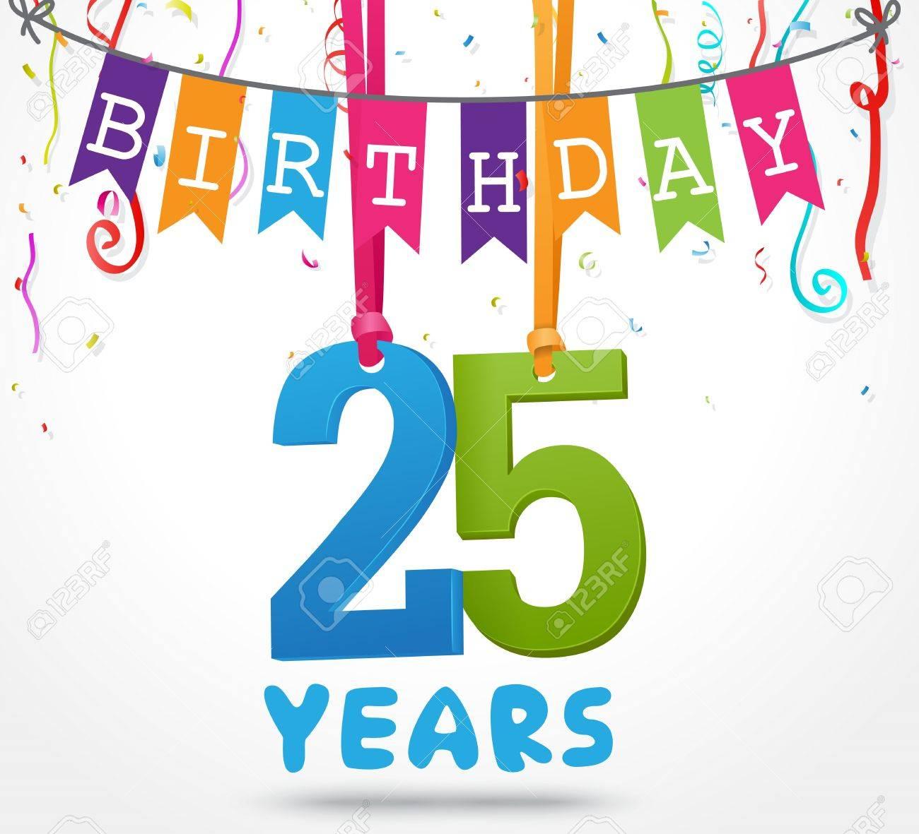 spesso Biglietto Di Auguri Di Compleanno Di 25 Anni Di Disegno Clipart  UH18