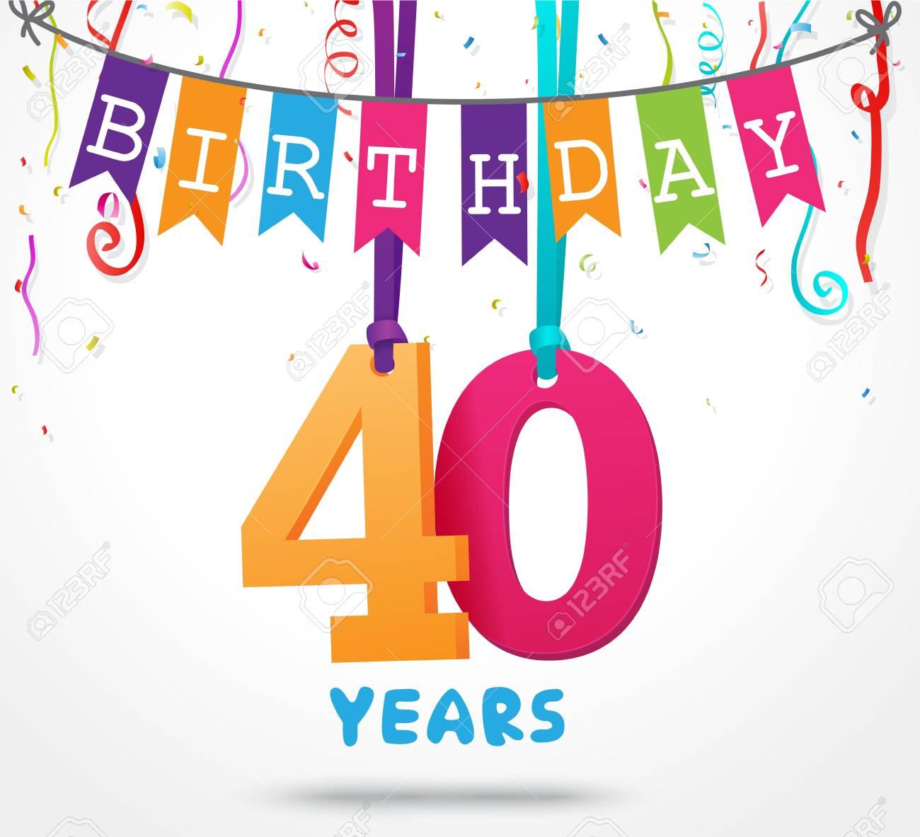 40 Años De Tarjeta De Felicitación De Celebración De Cumpleaños Diseño