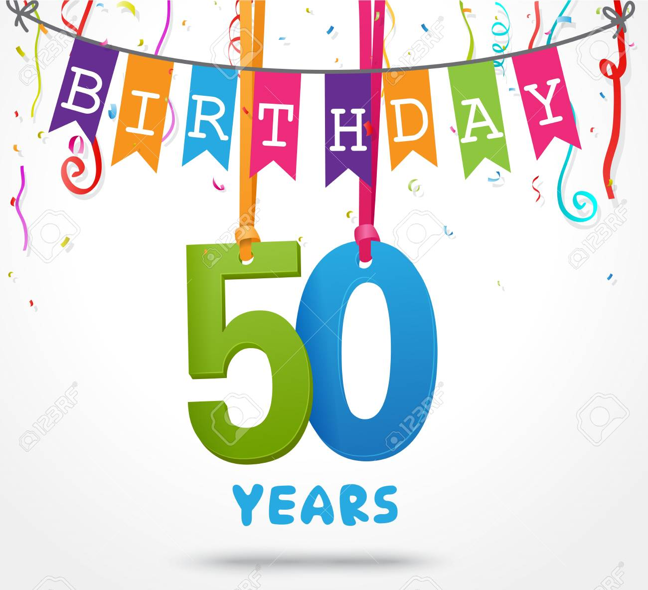 50 Years Birthday Celebration Greeting Card Design Stock Vector