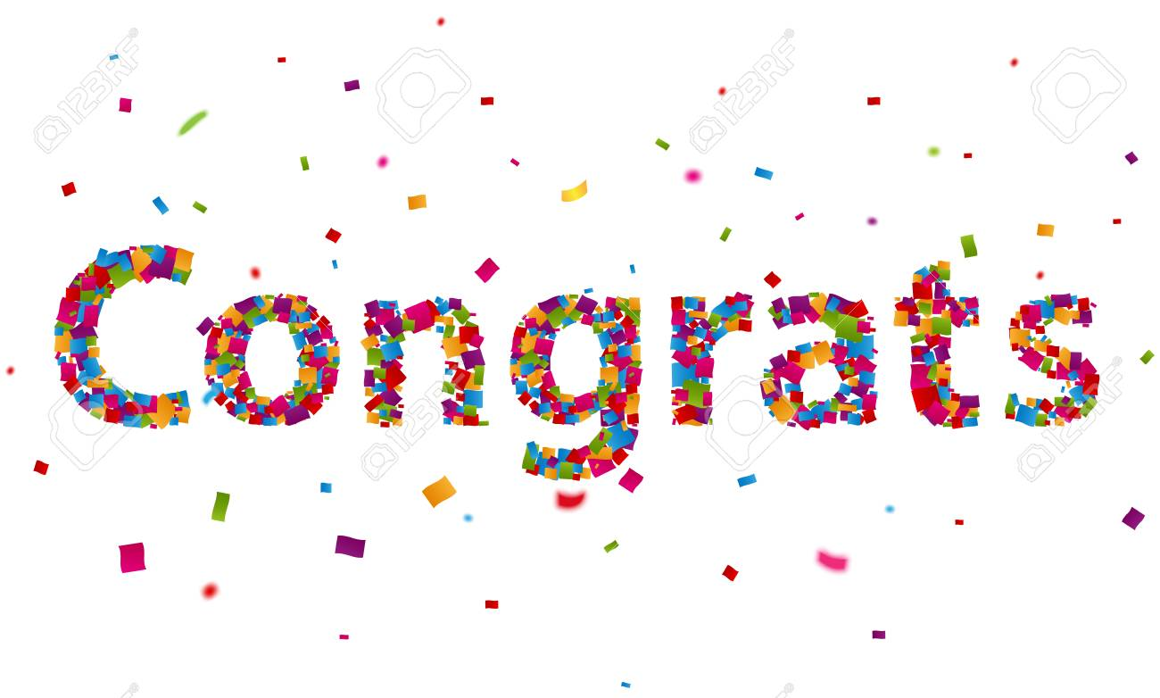 congratulations sign with colorful confetti royalty free cliparts