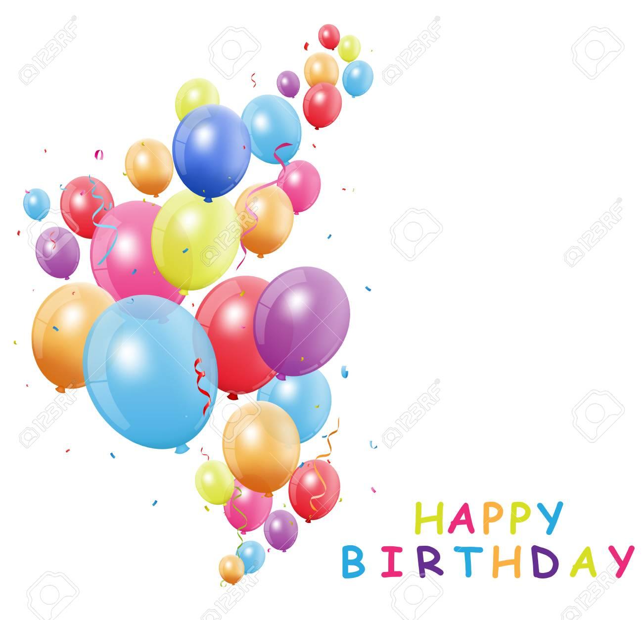 Carte De Joyeux Anniversaire Avec Ballon Colore Clip Art Libres De Droits Vecteurs Et Illustration Image 82041023