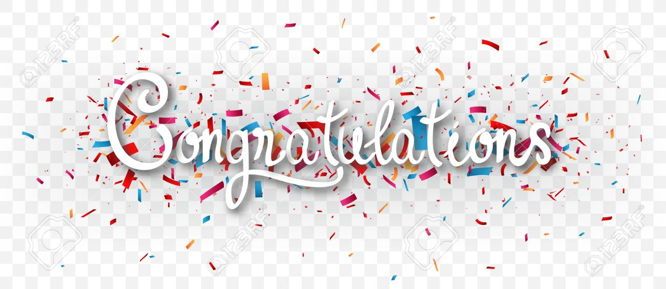 congratulations banner with colorful confetti isolated on