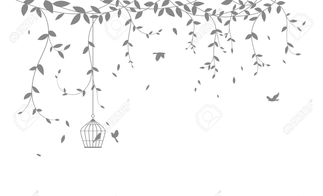 Beautiful tree branch with birds silhouette background for wallpaper sticker - 111428546