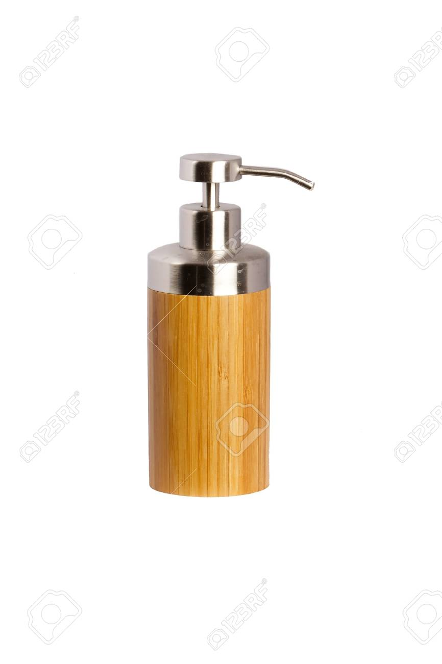 Bamboo Bathroom Accessories With Chrome Elements White Background