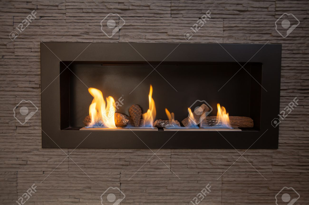 Modern Indoor Fireplace On Biofuel. Stock Photo, Picture And Royalty ...