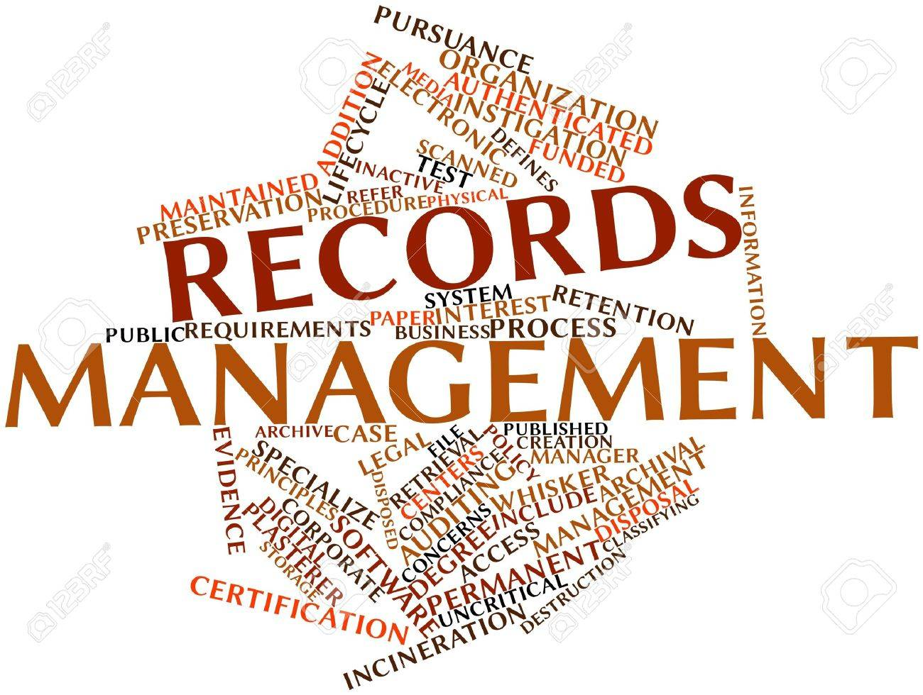 Abstract word cloud for Records management with related tags and terms Stock Photo - 15995746