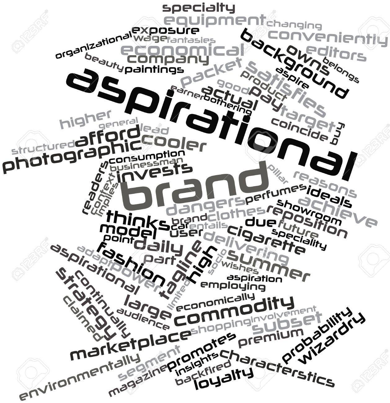Abstract word cloud for Aspirational brand with related tags and terms Stock Photo - 15997012