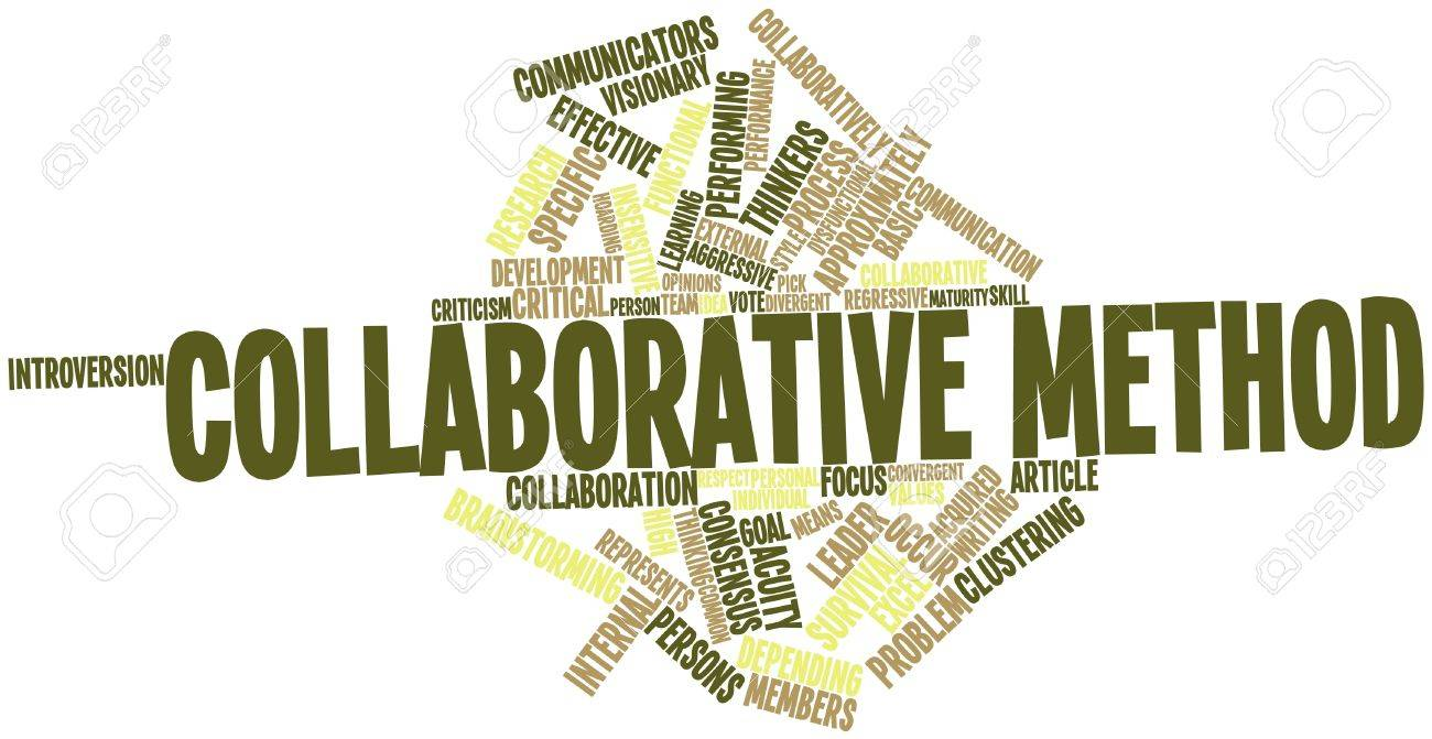 Abstract word cloud for Collaborative method with related tags and terms Stock Photo - 15996309