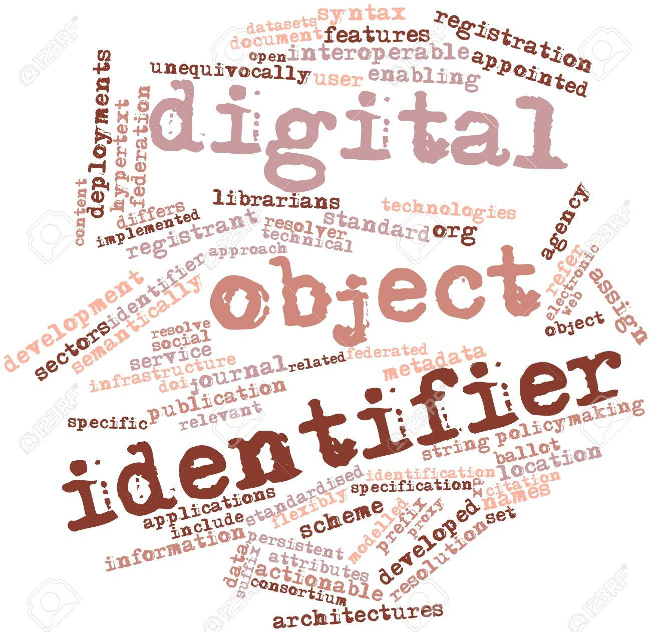 Abstract word cloud for Digital object identifier with related tags and terms Stock Photo - 15997888
