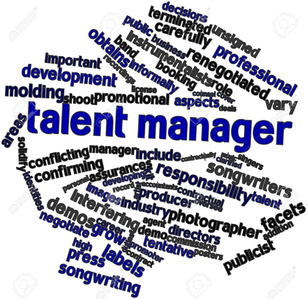 Abstract word cloud for Talent manager with related tags and