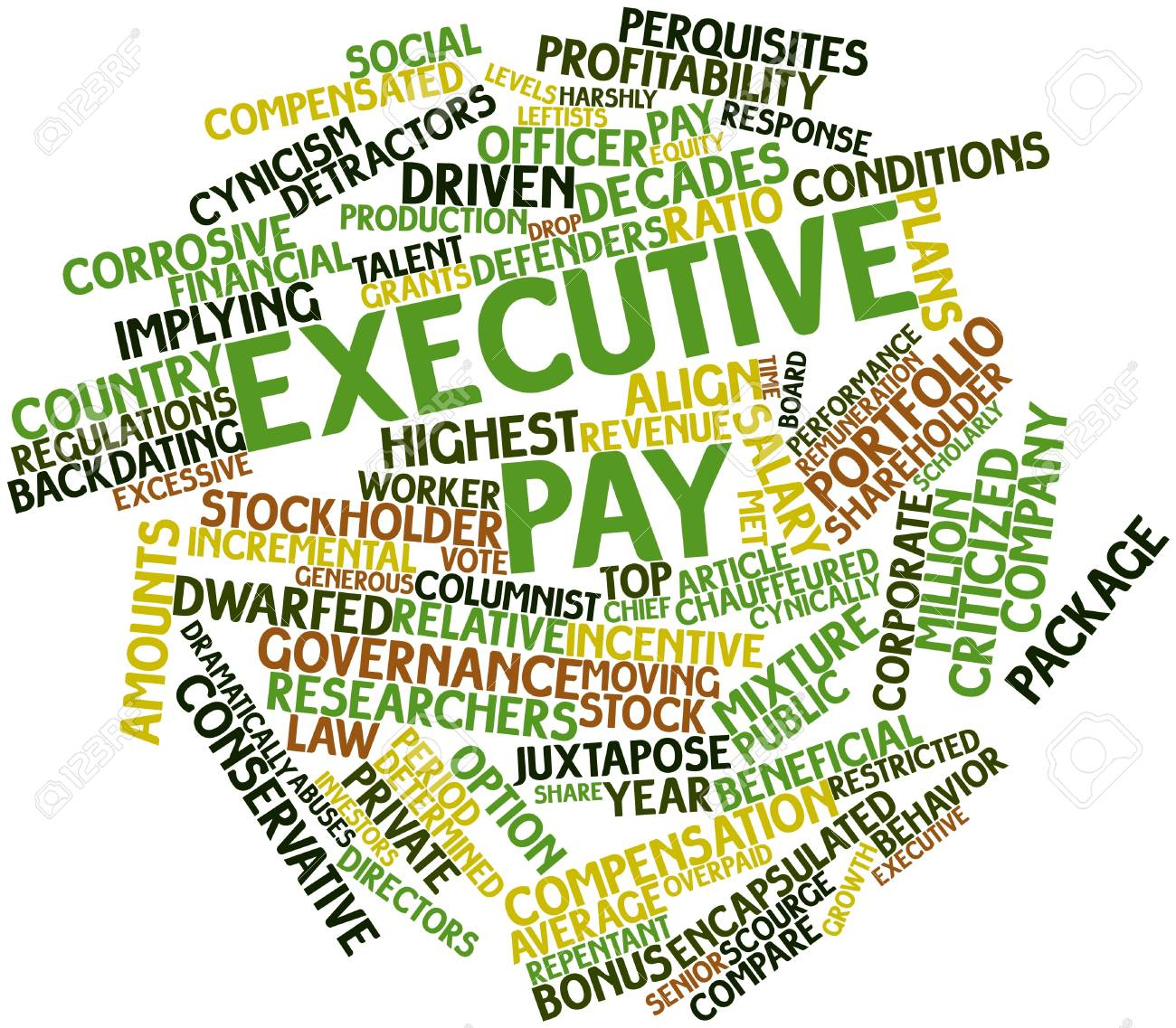 Abstract word cloud for Executive pay with related tags and terms Stock Photo - 16047876
