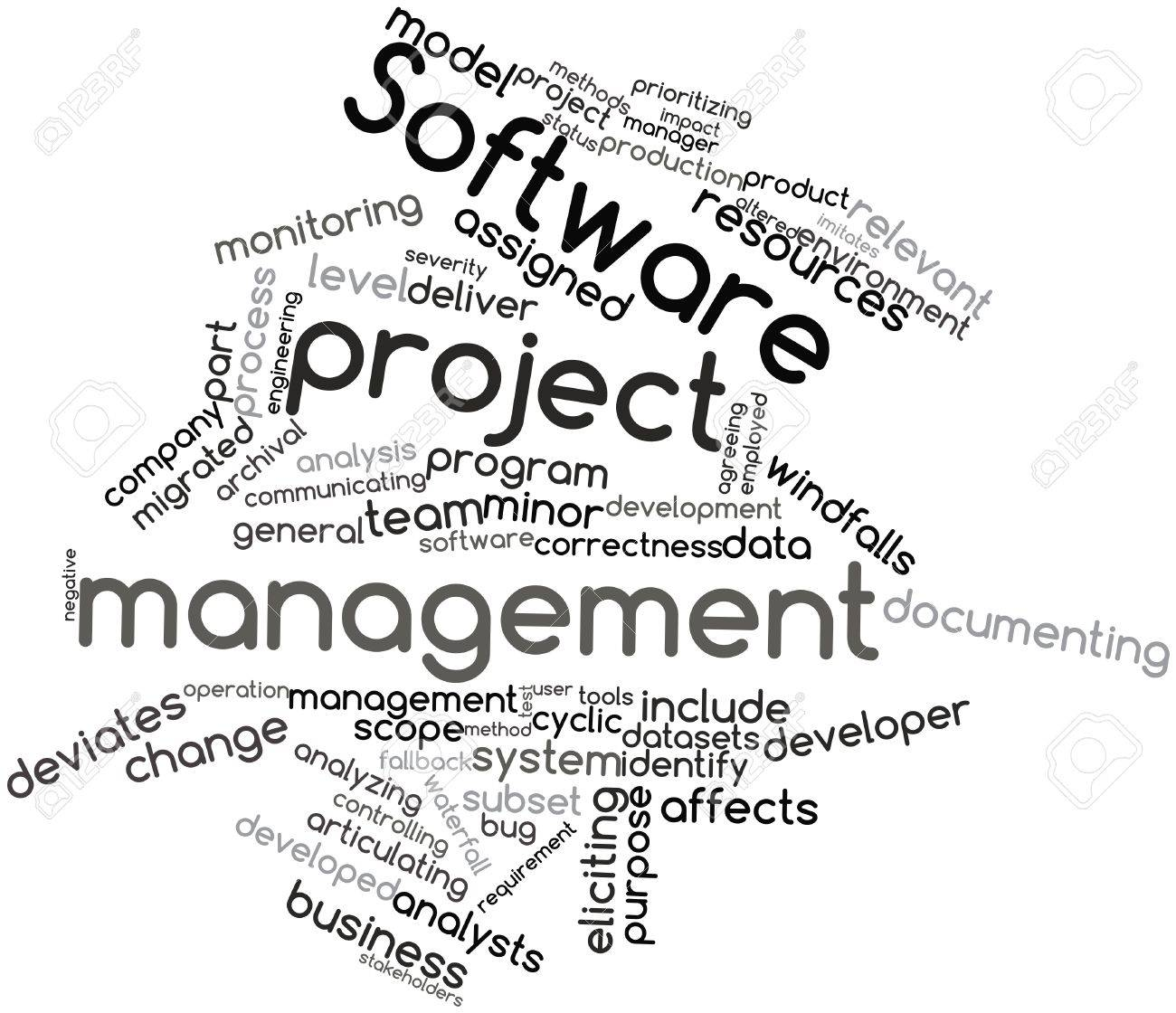 Abstract word cloud for Software project management with related tags and terms Stock Photo - 16042229