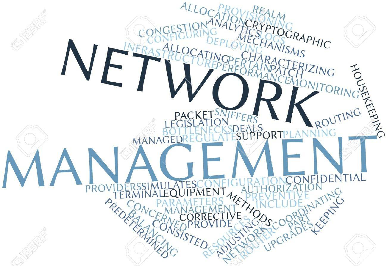 Abstract word cloud for Network management with related tags and terms Stock Photo - 16048041